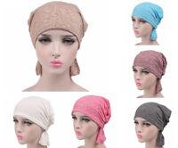 Cotton Stretch Chemo Cap Hair Loss Head Scarf Wrap Muslim Turban Hat Headwrap