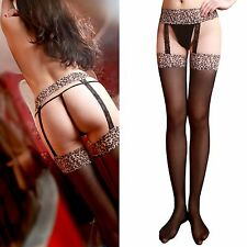 Lingerie Sex Transparent Garter Belt Tights Stockings Pantyhose Animal Print