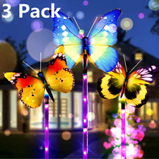 3 Pack Solar Garden Butterfly Lights Outdoor Landscape Multi-Color Changing Path