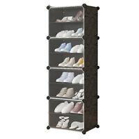 Clear Door Cube DIY Shoe Cabinet Rack Storage Stackable Organiser 1 Column 8 Row
