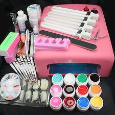 Pro 36W UV Lamp Pink w/ 12 Color UV Gel Nail Art Tips Brush Tool Kits Set