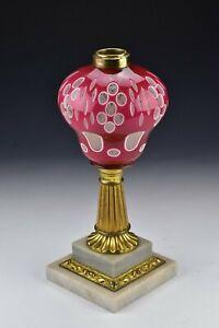 Boston Sandwich Glass Cranberry & White Double Cut Overlay Lamp 19th Century #2