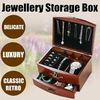 Wooden Watches Box Jewelry Organizer Storage Display Case Earrings Ring Necklace