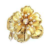 Large BSK Gold tone Rhinestone Brooch 5118