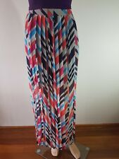 PIPER LANE Ladies Navy Pink Orange Pleated Lined Maxi Skirt Size: 12 EC