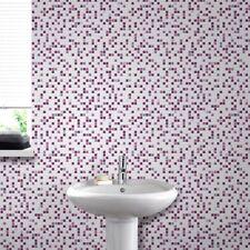 Contour Checkered Tile Effect Kitchen Bathroom Purple/Fuschia Wallpaper