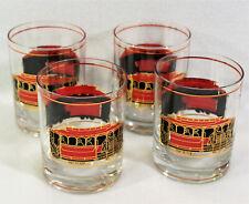 Vtg Gumps of San Francisco Set of 4 Rocks Low Ball Glasses Barware Gold Red 12oz