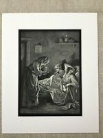 The Old Woman Servant Girls La Fontaine Fables Story Genuine Antique Print
