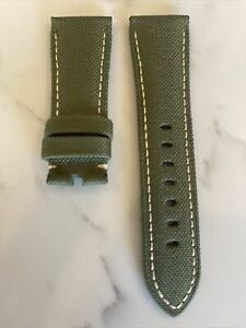 Panerai OEM 26Mm Green Nylon Strap w/ Beige Stitch 26/22mm for Tang Buckle