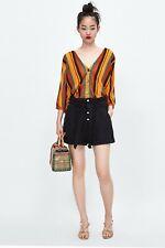 ZARA Black Paper Bag Waist Cotton/Linen Blend Bermuda Shorts Size S Suit uk 10