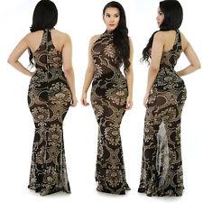 Abito lungo stampato aderente Trasparente Nudo Zip Party Cerimonia Print Dress M