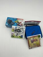 NEW Nintendo 2DS XL Black/Turquoise Mario Kart 7/Blue Case /Zelda + Chibo Game