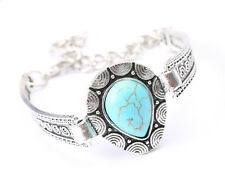 Vintage Style Silver Tone and Faux Turquoise bracelet