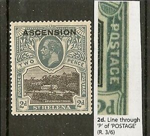 """ASCENSION ISLAND 1922 LINE THROUGH """"P"""" OF """"POSTAGE"""" SG4a LHM"""