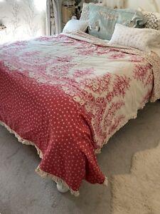 Vintage Dunelm Cotton Red Floral Polka Dot Frill King Duvet Cover Shabby Chic