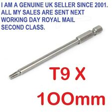"1/4"" Hex Shank 100mm Long T9 Magnetic Torx NON Security Screwdriver Bit"
