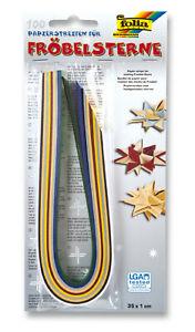 100 Papierstreifen für Fröbelsterne, Papierflechten, Quilling, von folia®