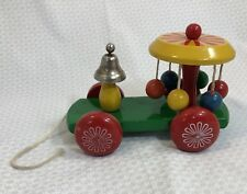 Vintage Kouvalias Wooden Pull Wagon Train Toy / 1970s / Works Perfectly / Greece
