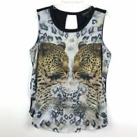 Forever 21 Plus Size Juniors Size XL Black Cheetah Graphic Print Tank Top
