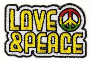 Ab58 Love & Peace Signo Parche para Planchar Parche Aplicación Reggae 7,6 X 5CM