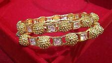 GOLD PLATED AD WEDDING BOLLYWOOD ETHNIC BRIDAL WORK WEAR KADAA BANGLE SET. 2.4