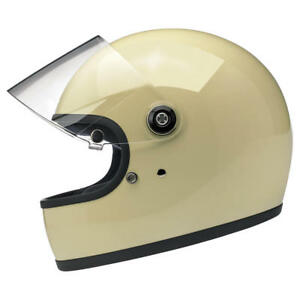 Biltwell Gringo S DOT / ECE Motorcycle Helmet Gloss Vintage White - Choose Size
