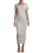 New James Perse Long rouched dress striped gray white sz 1