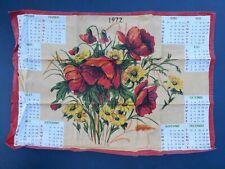 Torchon Calendrier 1972 decor fleurs