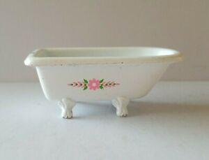 Vintage 1980 Mattel The Littles Die Cast Bathtub Collectible White Pink Flowers