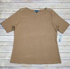 NWT Karen Scott Womens XL Brown Short Sleeve Top MSRP $29