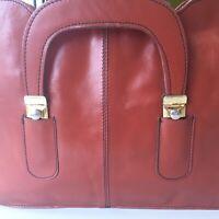 Vtg Briefcase Portfolio Business Case Leather Shoulder Messenger Laptop Bag