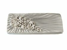 SILVER RUCHED  SATIN with RHINESTONE ACCENTS Evening Bag Clutch Shoulder Bag
