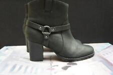 Ladies Clarks Black Leather Cowboy Strap Ankle Boots