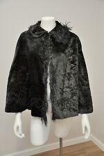 Antique Victorian Black Velvet Cape Soutache Trim Fur Halloween Steampunk One Sz