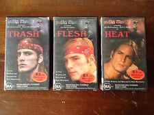 ANDY WARHOL FLESH HEAT TRASH VHS THREE VIDEO TAPES Original Copies