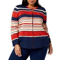 ANNE KLEIN NEW Women's Plus Size Striped Wool Blend Cardigan Sweater Top TEDO