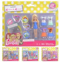 Barbie Travel To Mini Doll Playset With Figures Dresses Bracelet Charms 9cm