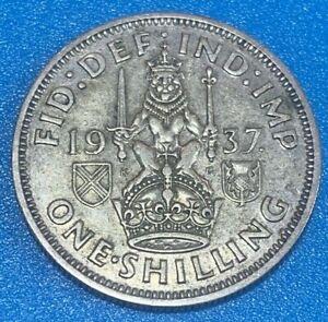 1937 Great Britain Shilling Scottish Crest 0.500 Silver Coin