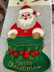 "Vintage Handmade Christmas Card Mail Holder Santa Felt Sequin Wall Hanging 23"""
