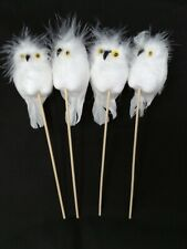White Owl on Wooden Stick x 24cm- Pack of 4- Christmas Florist Wreath Decoration