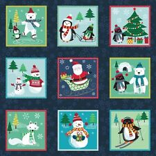 Frosty Animal Labels Christmas 100% Quilting Fabric 55 Individual Panels 1619