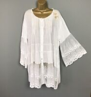 NEW Italian Top Blouse White Crinkle Lace Lagenlook Womens UK Plus Size 14 16 18