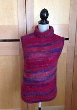 DKNY Asymmetrical Sleeveless Turtleneck Sweater - Small - Multi Red & Purple