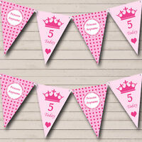 Pink Hearts Princess Girls Personalised Children's Birthday Party Bunting Banner
