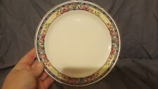 "Vintage Crooksville China 7"" Bread Plate Pink Flowers Blue and yellow border 435"