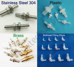 Plastic/Brass/Stainless Steel Bulkhead Fitting Hose Barb Connector Reducing Fuel