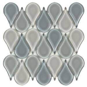 Modern Circular Beige Blue Glass Mosaic Tile Backsplash Kitchen Wall MTO0231