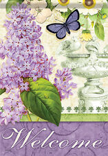 Garden Flag, Lilac Elegance, Welcome, Floral, Double Sided, 2 Sided