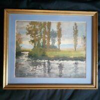 F Aquarelle paysage, scène lacustre, bord de lac