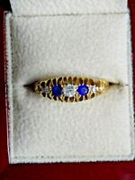 EXQUISITE ANTIQUE 18CT GOLD OLD CUT DIAMOND & SAPPHIRE RING. Size Q.